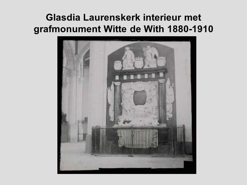 Glasdia Laurenskerk interieur met grafmonument Kortenaer 1880-1910
