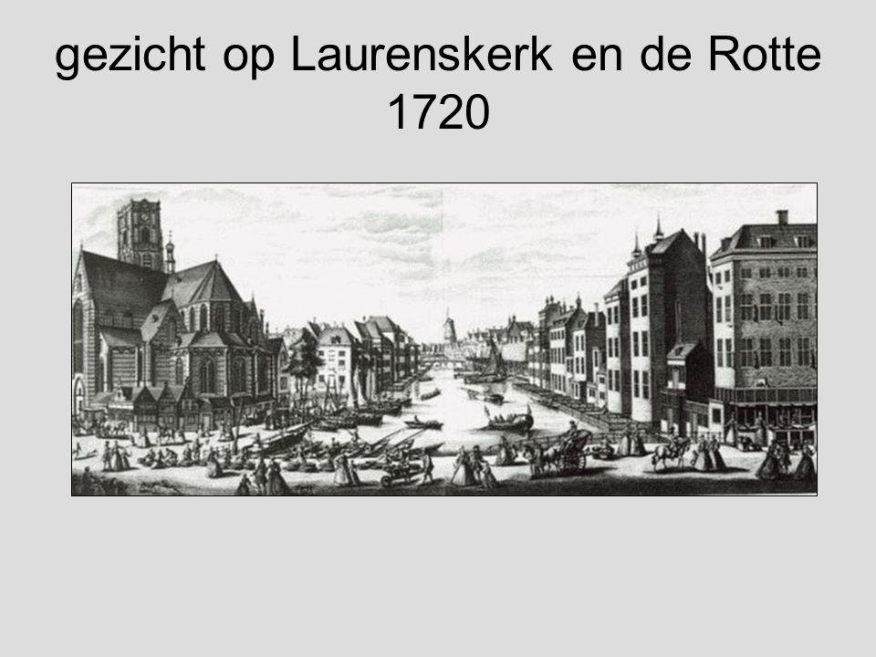 gezicht op Laurenskerk en de Rotte 1720
