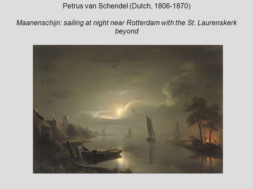 Petrus van Schendel (Dutch, 1806-1870) Maanenschijn: sailing at night near Rotterdam with the St.