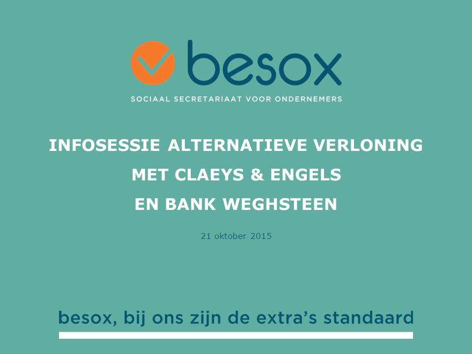 21 oktober 2015 INFOSESSIE ALTERNATIEVE VERLONING MET CLAEYS & ENGELS EN BANK WEGHSTEEN