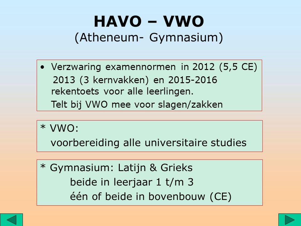 HAVO – VWO (Atheneum- Gymnasium) Verzwaring examennormen in 2012 (5,5 CE) 2013 (3 kernvakken) en 2015-2016 rekentoets voor alle leerlingen.