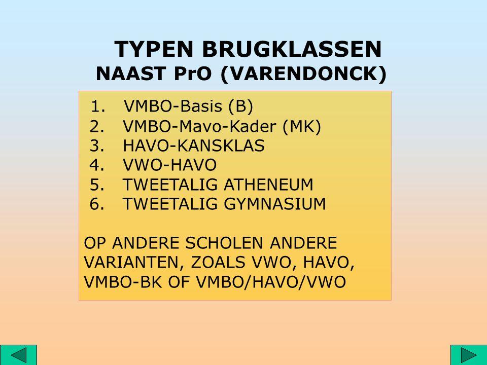 1. VMBO-Basis (B) 2. VMBO-Mavo-Kader (MK) 3. HAVO-KANSKLAS 4.