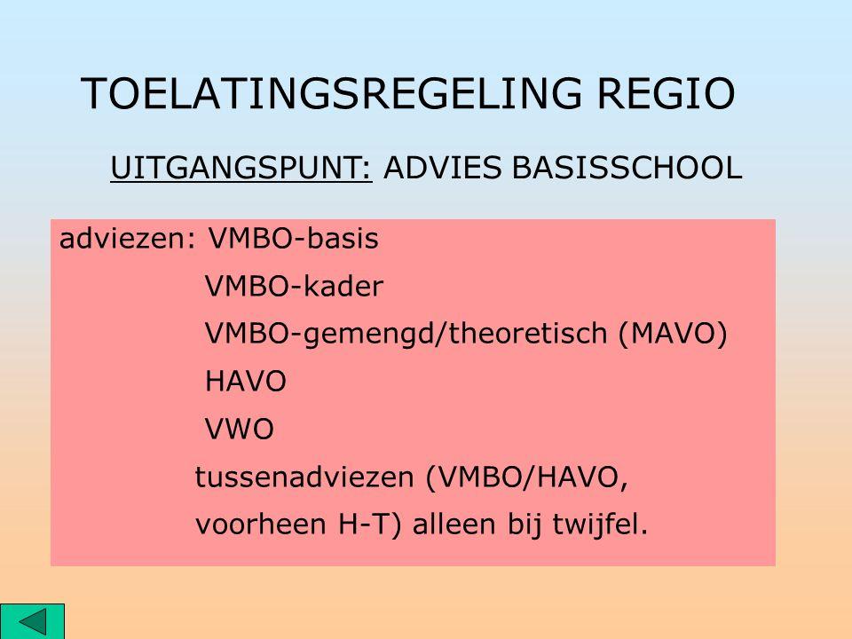 TOELATINGSREGELING REGIO adviezen: VMBO-basis VMBO-kader VMBO-gemengd/theoretisch (MAVO) HAVO VWO tussenadviezen (VMBO/HAVO, voorheen H-T) alleen bij twijfel.