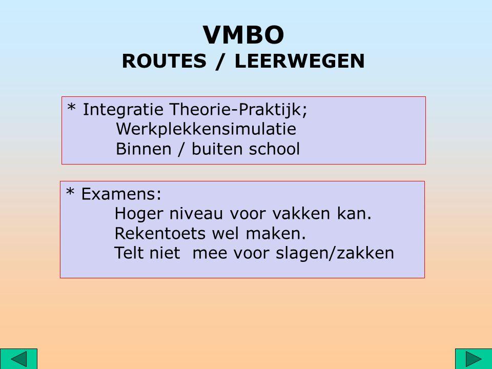 VMBO ROUTES / LEERWEGEN * Examens: Hoger niveau voor vakken kan.