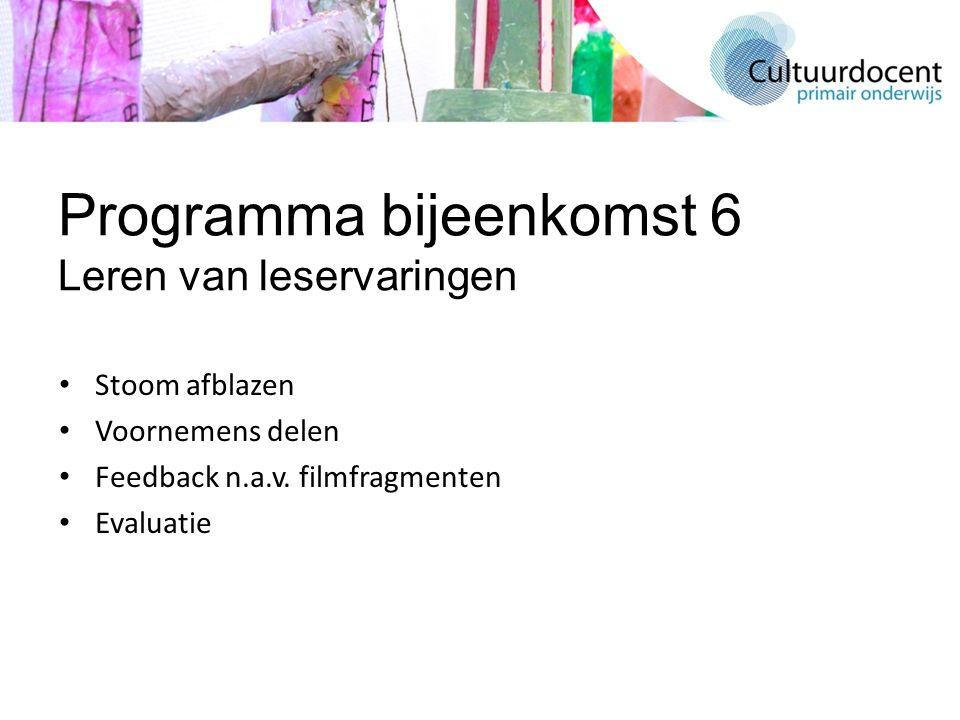 Programma bijeenkomst 6 Leren van leservaringen Stoom afblazen Voornemens delen Feedback n.a.v. filmfragmenten Evaluatie