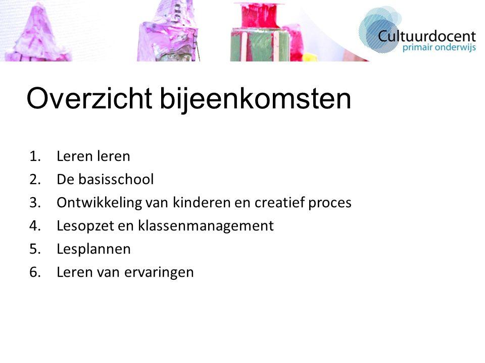 Overzicht bijeenkomsten 1.Leren leren 2.De basisschool 3.Ontwikkeling van kinderen en creatief proces 4.Lesopzet en klassenmanagement 5.Lesplannen 6.Leren van ervaringen