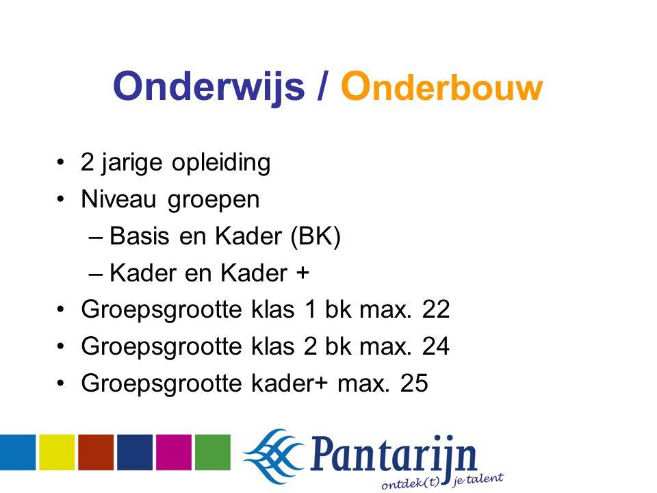 Onderwijs / O nderbouw 2 jarige opleiding Niveau groepen –Basis en Kader (BK) –Kader en Kader + Groepsgrootte klas 1 bk max.