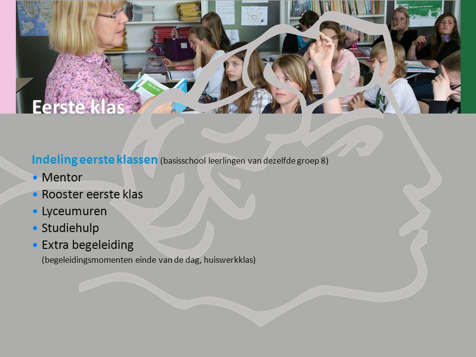 Indeling eerste klassen (basisschool leerlingen van dezelfde groep 8) Mentor Rooster eerste klas Lyceumuren Studiehulp Extra begeleiding (begeleidings