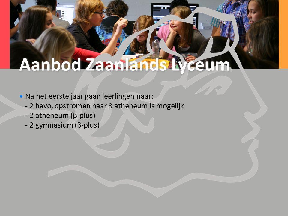 Aanbod Zaanlands Lyceum Na het eerste jaar gaan leerlingen naar: - 2 havo, opstromen naar 3 atheneum is mogelijk - 2 atheneum (β-plus) - 2 gymnasium (β-plus)