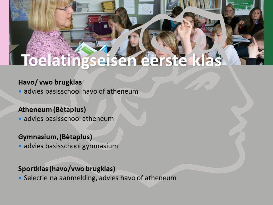 Havo/ vwo brugklas advies basisschool havo of atheneum Atheneum (Bètaplus) advies basisschool atheneum Gymnasium, (Bètaplus) advies basisschool gymnas