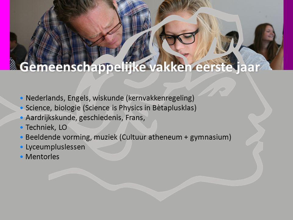 Gemeenschappelijke vakken eerste jaar Nederlands, Engels, wiskunde (kernvakkenregeling) Science, biologie (Science is Physics in Bètaplusklas) Aardrij