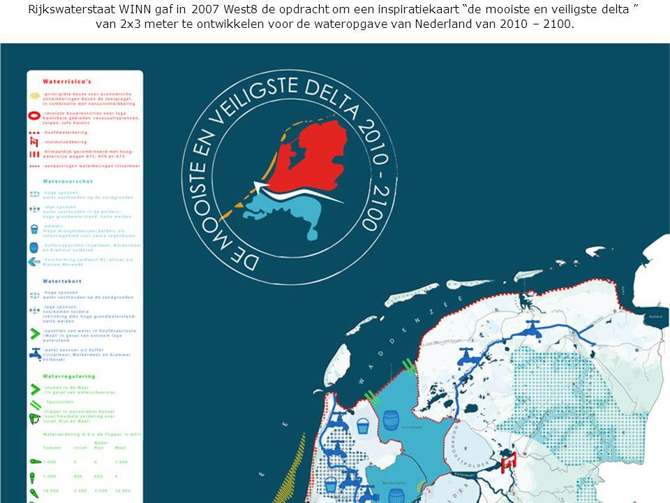 """Rijkswaterstaat 3DNL223 juni 2010 Rijkswaterstaat WINN gaf in 2007 West8 de opdracht om een inspiratiekaart """"de mooiste en veiligste delta """" van 2x3 m"""