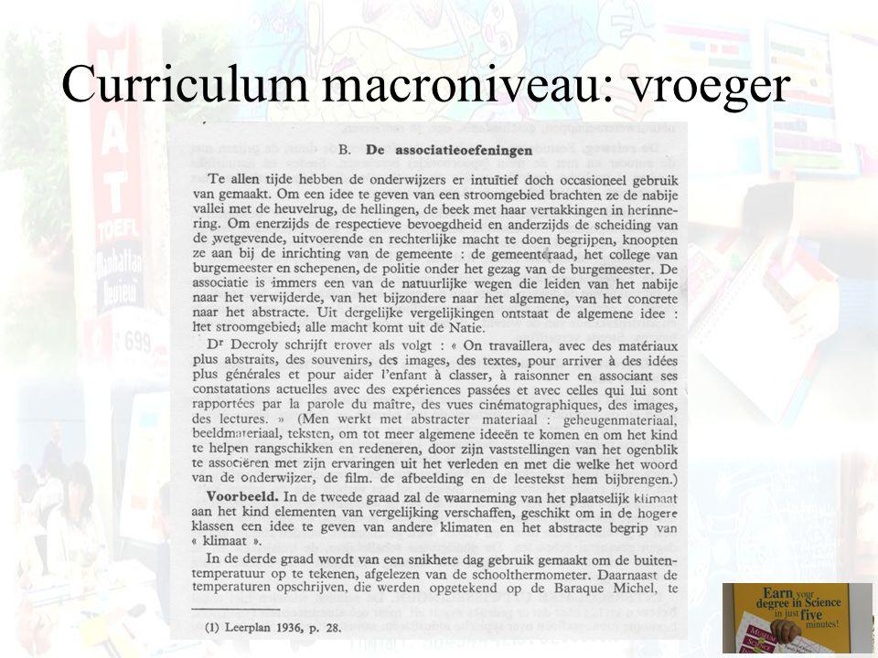 Curriculum macroniveau: vroeger