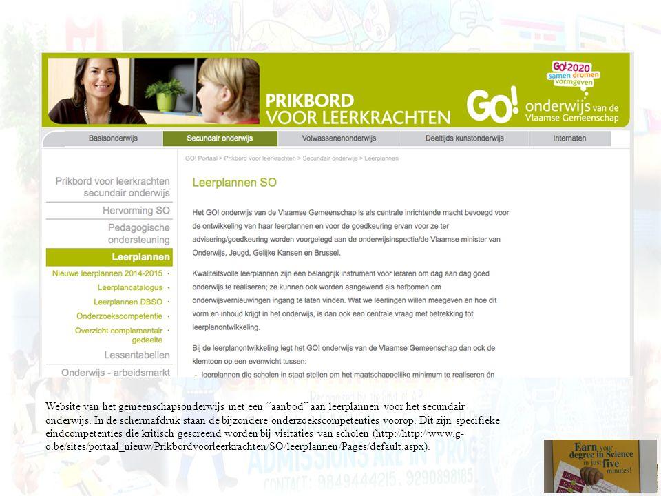 """Website van het gemeenschapsonderwijs met een """"aanbod"""" aan leerplannen voor het secundair onderwijs. In de schermafdruk staan de bijzondere onderzoeks"""