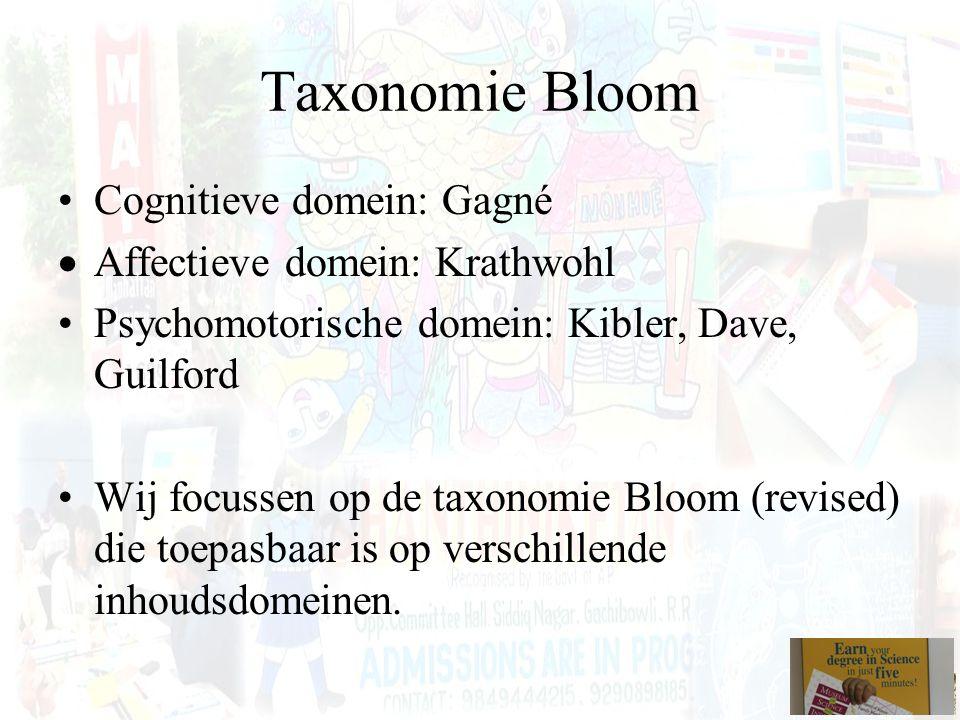 Taxonomie Bloom Cognitieve domein: Gagné  Affectieve domein: Krathwohl Psychomotorische domein: Kibler, Dave, Guilford Wij focussen op de taxonomie B