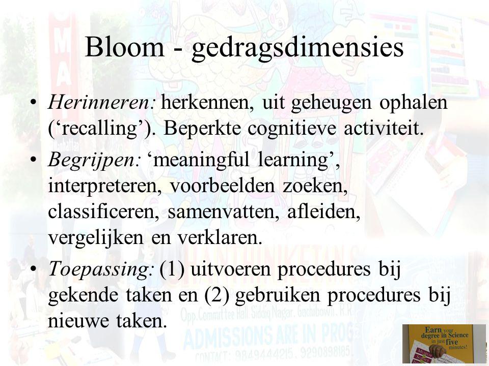 Bloom - gedragsdimensies Herinneren: herkennen, uit geheugen ophalen ('recalling'). Beperkte cognitieve activiteit. Begrijpen: 'meaningful learning',
