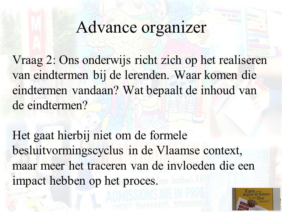 Advance organizer Vraag 2: Ons onderwijs richt zich op het realiseren van eindtermen bij de lerenden. Waar komen die eindtermen vandaan? Wat bepaalt d