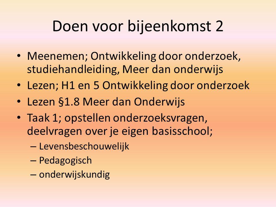 Doen voor bijeenkomst 2 Meenemen; Ontwikkeling door onderzoek, studiehandleiding, Meer dan onderwijs Lezen; H1 en 5 Ontwikkeling door onderzoek Lezen