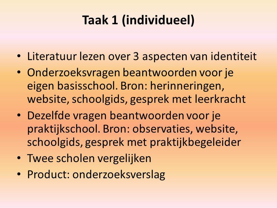 Taak 1 (individueel) Literatuur lezen over 3 aspecten van identiteit Onderzoeksvragen beantwoorden voor je eigen basisschool. Bron: herinneringen, web