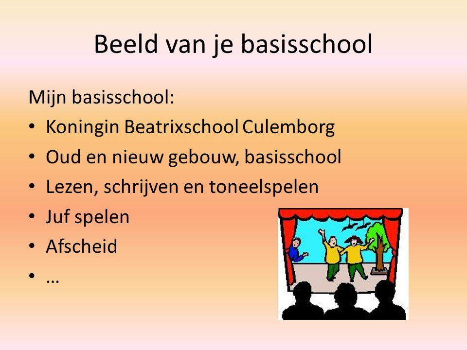 Beeld van je basisschool Mijn basisschool: Koningin Beatrixschool Culemborg Oud en nieuw gebouw, basisschool Lezen, schrijven en toneelspelen Juf spel