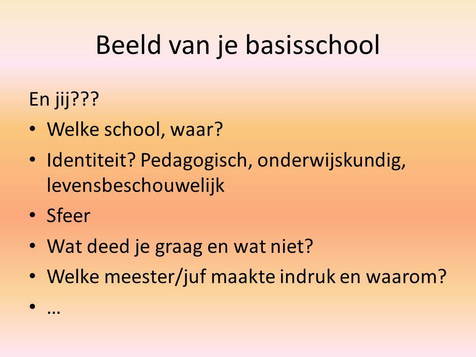 Beeld van je basisschool En jij??? Welke school, waar? Identiteit? Pedagogisch, onderwijskundig, levensbeschouwelijk Sfeer Wat deed je graag en wat ni