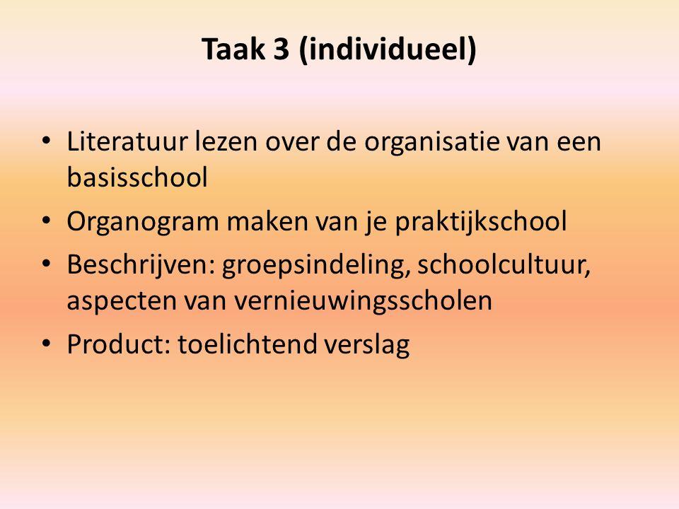 Taak 3 (individueel) Literatuur lezen over de organisatie van een basisschool Organogram maken van je praktijkschool Beschrijven: groepsindeling, scho