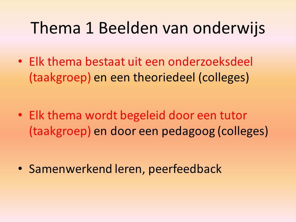 Thema 1 Beelden van onderwijs Elk thema bestaat uit een onderzoeksdeel (taakgroep) en een theoriedeel (colleges) Elk thema wordt begeleid door een tut