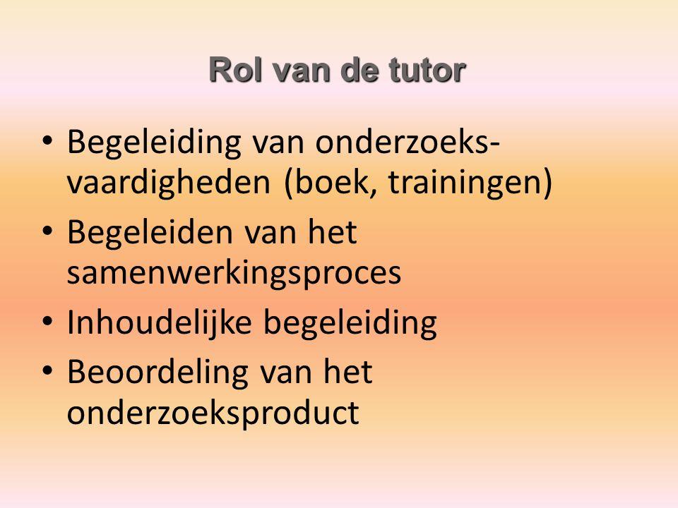 Begeleiding van onderzoeks- vaardigheden (boek, trainingen) Begeleiden van het samenwerkingsproces Inhoudelijke begeleiding Beoordeling van het onderz
