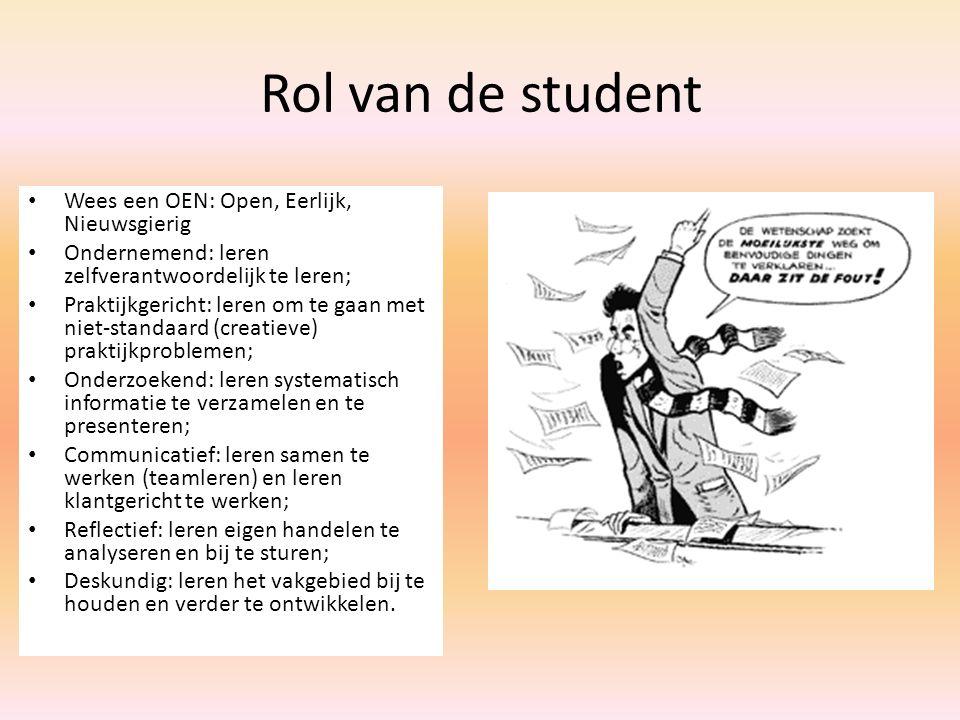Rol van de student Wees een OEN: Open, Eerlijk, Nieuwsgierig Ondernemend: leren zelfverantwoordelijk te leren; Praktijkgericht: leren om te gaan met n