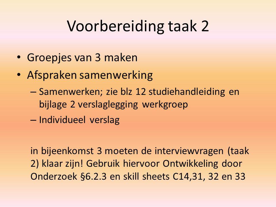 Voorbereiding taak 2 Groepjes van 3 maken Afspraken samenwerking – Samenwerken; zie blz 12 studiehandleiding en bijlage 2 verslaglegging werkgroep – I
