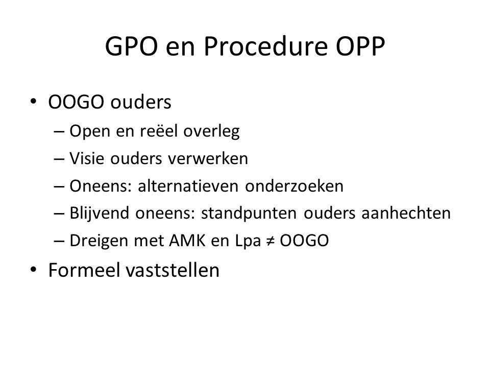 GPO en Procedure OPP OOGO ouders – Open en reëel overleg – Visie ouders verwerken – Oneens: alternatieven onderzoeken – Blijvend oneens: standpunten o
