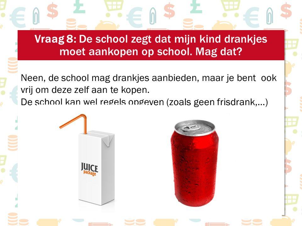 Neen, de school mag drankjes aanbieden, maar je bent ook vrij om deze zelf aan te kopen. De school kan wel regels opgeven (zoals geen frisdrank,…)