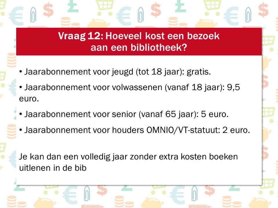 Jaarabonnement voor jeugd (tot 18 jaar): gratis. Jaarabonnement voor volwassenen (vanaf 18 jaar): 9,5 euro. Jaarabonnement voor senior (vanaf 65 jaar)