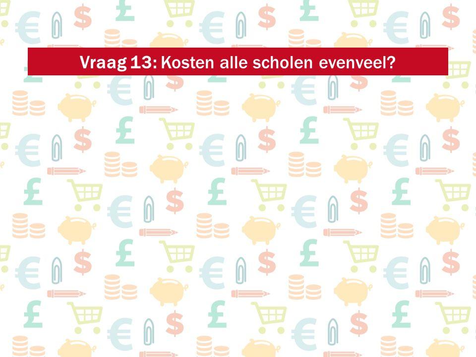 Vraag 13: Kosten alle scholen evenveel