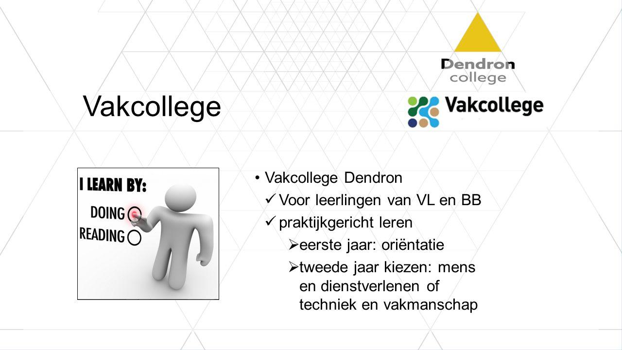 Vakcollege Vakcollege Dendron Voor leerlingen van VL en BB praktijkgericht leren  eerste jaar: oriëntatie  tweede jaar kiezen: mens en dienstverlene