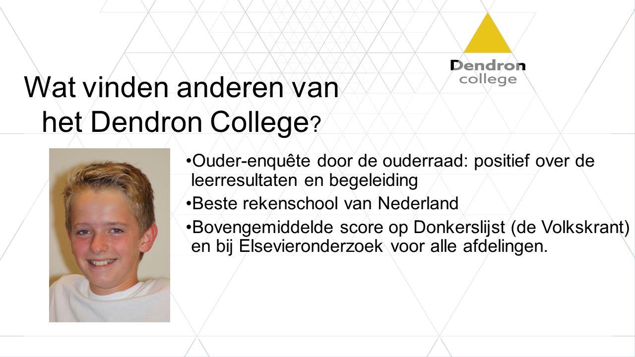 Wat vinden anderen van het Dendron College ? Ouder-enquête door de ouderraad: positief over de leerresultaten en begeleiding Beste rekenschool van Ned