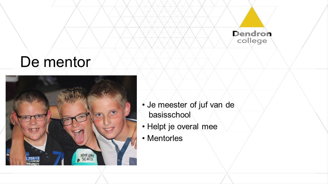 De mentor Je meester of juf van de basisschool Helpt je overal mee Mentorles