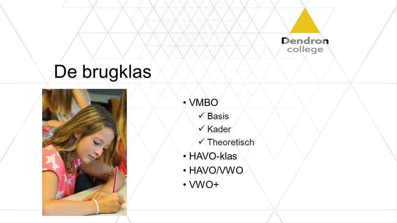 De brugklas VMBO Basis Kader Theoretisch HAVO-klas HAVO/VWO VWO+