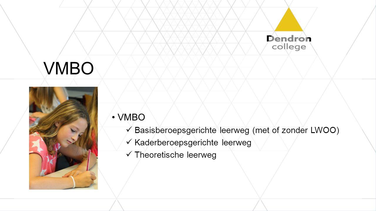 VMBO Basisberoepsgerichte leerweg (met of zonder LWOO) Kaderberoepsgerichte leerweg Theoretische leerweg