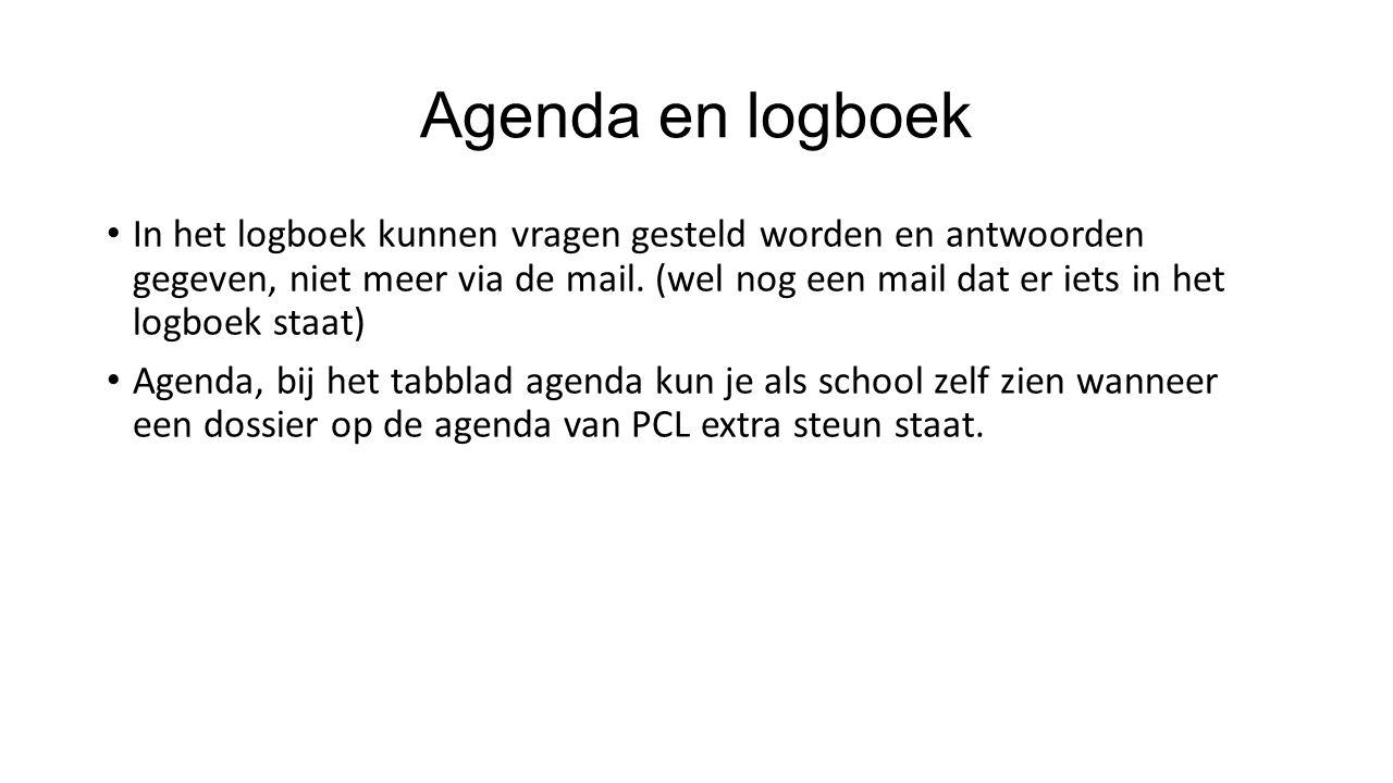 Agenda en logboek In het logboek kunnen vragen gesteld worden en antwoorden gegeven, niet meer via de mail.