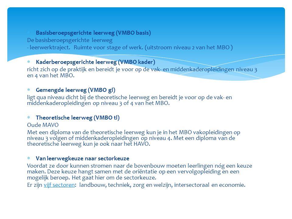  Basisberoepsgerichte leerweg (VMBO basis) De basisberoepsgerichte leerweg - leerwerktraject. Ruimte voor stage of werk. (uitstroom niveau 2 van het