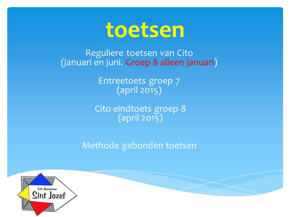 toetsen Reguliere toetsen van Cito (januari en juni. Groep 8 alleen januari) Entreetoets groep 7 (april 2015) -Cito eindtoets groep 8 -(april 2015) Me