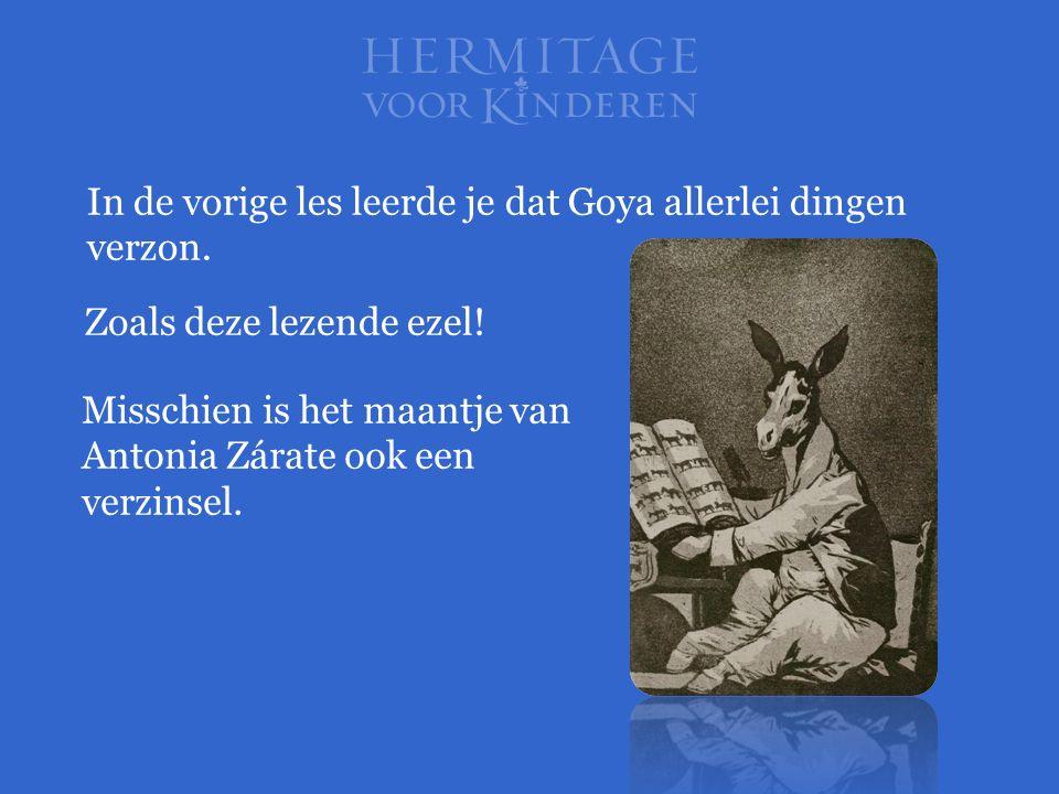 Misschien is het maantje van Antonia Zárate ook een verzinsel. In de vorige les leerde je dat Goya allerlei dingen verzon. Zoals deze lezende ezel!