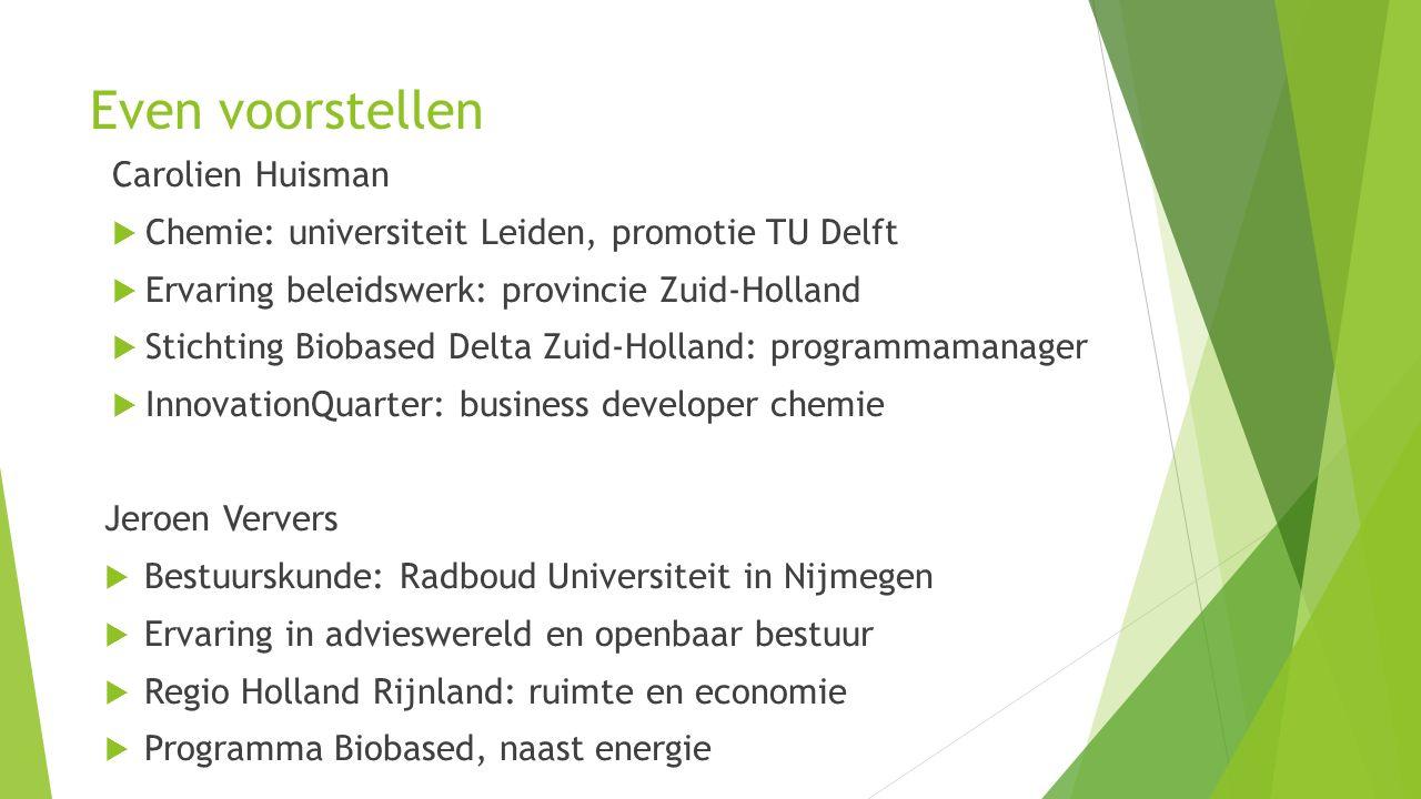 Onderdelen 1.Wat is biobased en waarom werken we er aan.