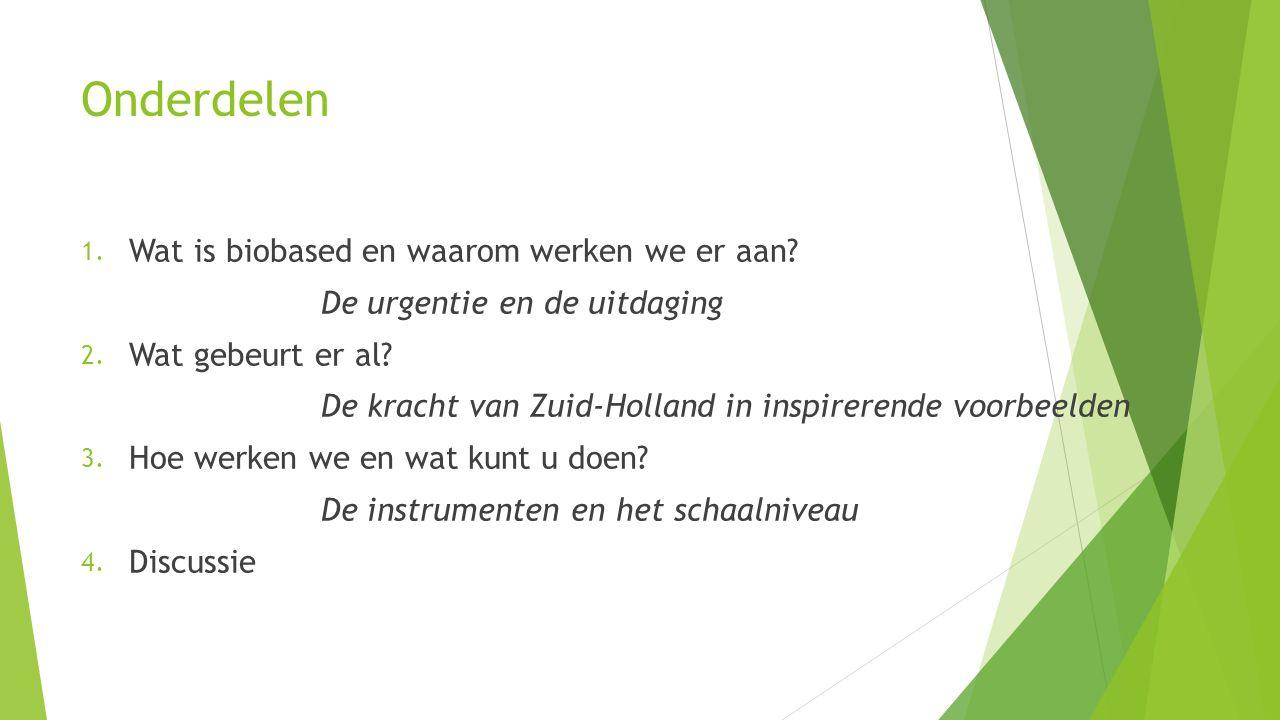 Een greep uit de initiatieven en projecten  Grondstoffenfabriek van Hoogheemraadschap Rijnland  TopSurf  Groen asfalt  Kansen productielandschap in Rijn- en Veenstreek  Biogas bij Heineken  Solar fuels: bijmenging waterstof met groen gas  Extractenbibliotheek
