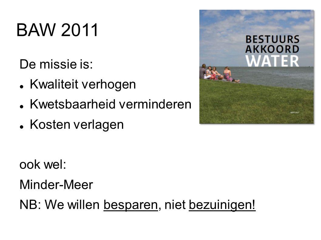 BAW 2011 De missie is: Kwaliteit verhogen Kwetsbaarheid verminderen Kosten verlagen ook wel: Minder-Meer NB: We willen besparen, niet bezuinigen!