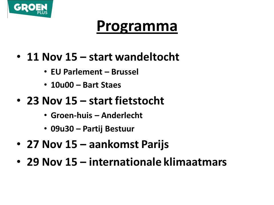 Programma 11 Nov 15 – start wandeltocht EU Parlement – Brussel 10u00 – Bart Staes 23 Nov 15 – start fietstocht Groen-huis – Anderlecht 09u30 – Partij