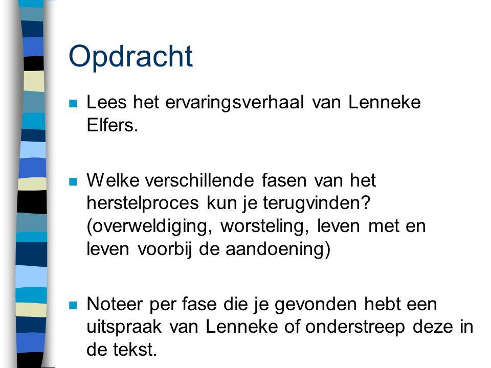 Opdracht n Lees het ervaringsverhaal van Lenneke Elfers.