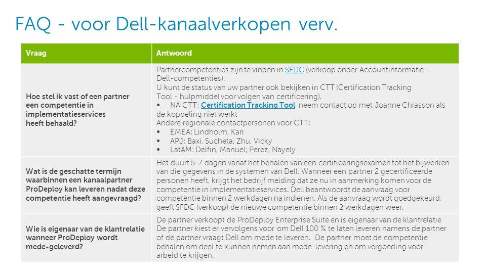 6 Dell - Intern gebruik - Vertrouwelijk FAQ - ProDeploy Enterprise Suite~Kanaal VraagAntwoord Wat zijn de voordelen voor partners wanneer ze mede-leveren met Dell.