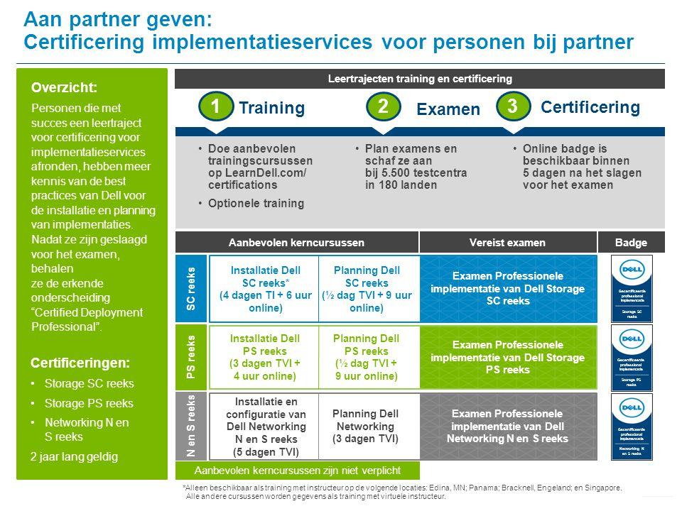 Overzicht: Personen die met succes een leertraject voor certificering voor implementatieservices afronden, hebben meer kennis van de best practices van Dell voor de installatie en planning van implementaties.
